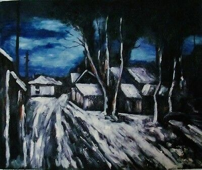 """Winter Night"" Oil Painting on canvas 20""x24"""