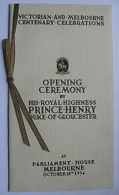 1934 Victorian And Melbourne Centenary Opening Ceremony Official Programme
