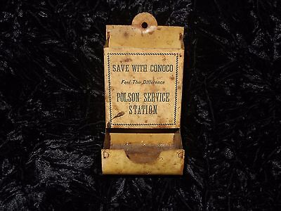 Conoco Gas Oil Service Filling Station Matchbook Holder Dispenser Polson Montana