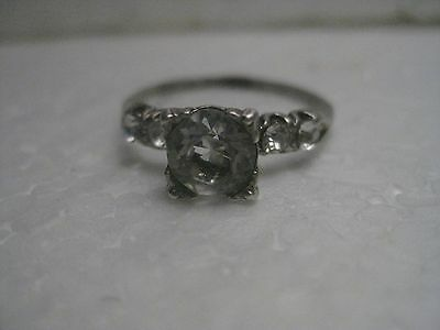 Vintage Art Deco Sterling Silver CZ/Rhinestone Engagement Ring, Sz. 8.5