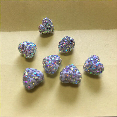9x10mm! Heart Shape AB Color Polymer Clay Rhinestone Pave Disco Shamballa Beads