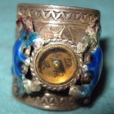 Qing Dynasty Adjustable Enamel on Silver Ring Two Crabs With Good Compass NICE