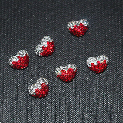 12x15mm! Heart Shape Polymer Clay Pave Rhinestone Pave Disco Shamballa Beads