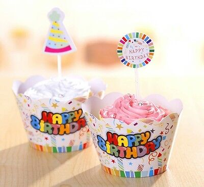 Happy Birthday Party Cupcake Wrappers & Toppers 24 Pcs