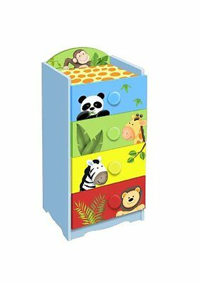 Fantasy Fields by Teamson Sunny Safari Childrens Wooden 4 Drawer 4 Handle Furnit