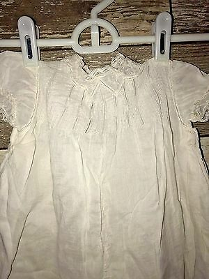 Vintage Antique Victorian Off White Baby Baptism Christening Dress Gown + Slip