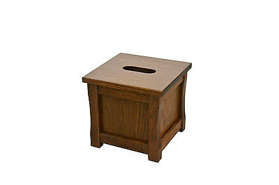 "Wooden tissue box ""cube"" holder. Mission style. Red oak. NEW! CQ-2-34"