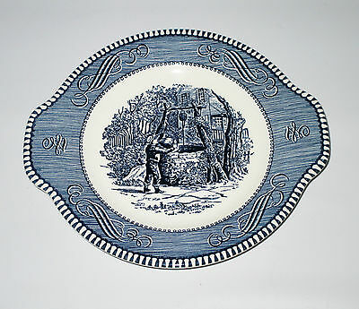 Royal Currier & Ives Blue Handled Salad Side Plate Drinking At The Well USA Made