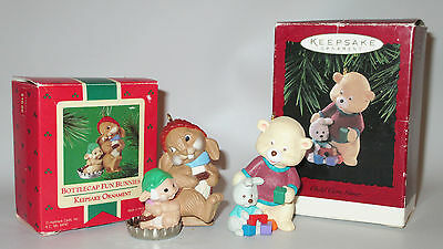 Hallmark Keepsake Ornaments Bottlecap Fun Bunnies 1985 Child Care Giver 1996