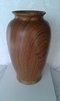 Vintage Large Hand Turned Wooden Treen Vase Beautiful Grain