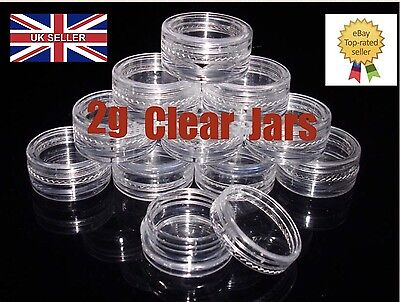 2ml CLEAR PLASTIC SAMPLE POTS/JARS **BEST QUALITY** Glitter/Cosmetic/Cream