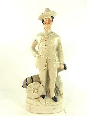 Antique Staffordshire Pottery Figure Badon Powell With Canon Boer War Interest