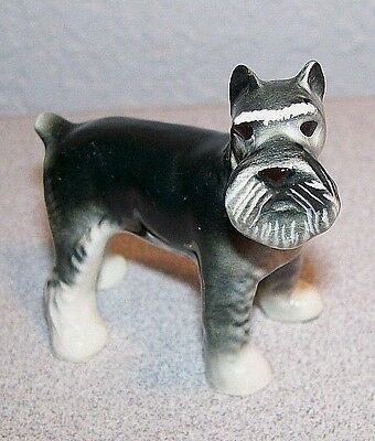 Porcelain DOG Figurine Black & Grey FOX TERRIER / Schnauzer  Free Shipping