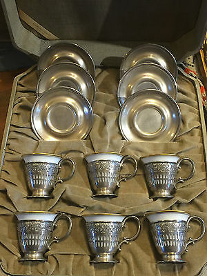 Webster Sterling Silver Demitasse Cup Saucer Art Nouveau 925 Set 6 Germany China