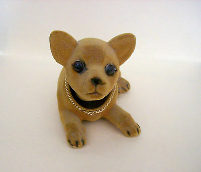 Chihuahua Puppy Figurine Flocked Brown Color With Glass Eyes & Bobble Head
