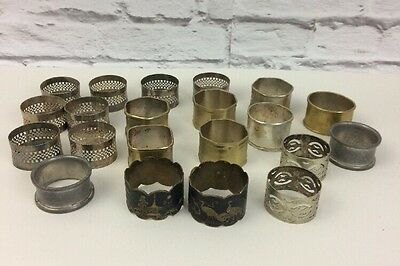 Mix Assortment Of Over Twenty Brass And Silver Plated Napkin Rings.