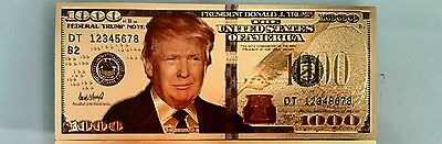 45th President Donald Trump bill 24k Plated Gold Bank Note Money