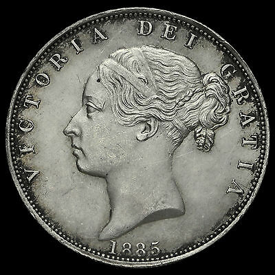 1885 Queen Victoria Young Head Silver Half Crown