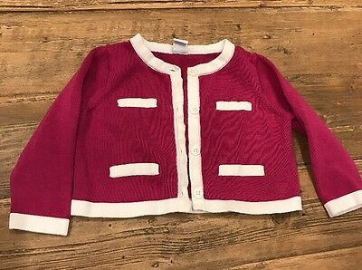 EUC Janie and Jack Baby Girl Pink White Button Sweater 12-18 months