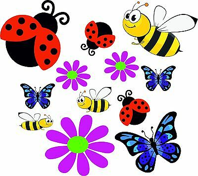 Pansies Butterflies Flowers Stickers Graphic Nursery Wall Window Decorations Art