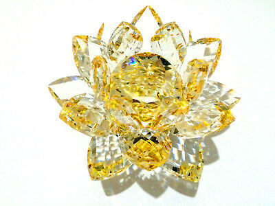 Large Gold CRYSTAL LOTUS Flower Ornament Spin system & Gift Box  Home Decor_UK