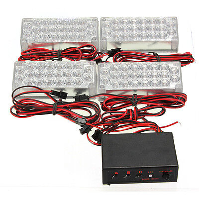 W15 4 x 22 LED Flashing Emergency Warning Light Grill Strobe Lamp 12V Amber+Whit