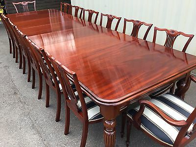 MAGNIFICENT 12.5ft REGENCY STYLE CUBAN MAHOGANY TABLE, PRO HAND FRENCH POLISHED