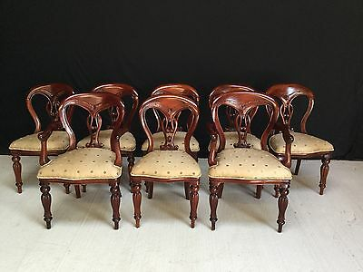 Set 8 Beautiful Victorian Mahogany Balloon Back Chairs Pro French Polished.
