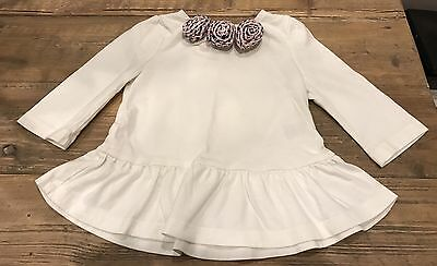 NEW Janie and Jack Baby Girl 3/4 sleeve floral white top 18-24 months