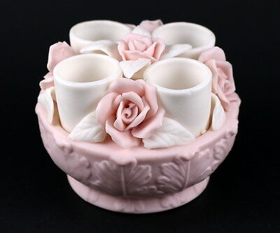 Vintage Porcelain 4 Candle Holder Flower Basket Bowl White Pink Roses