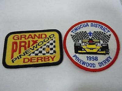 Pair Vintage BSA Boy Scouts Official Pinewood Derby Grand Prix Racer Patches