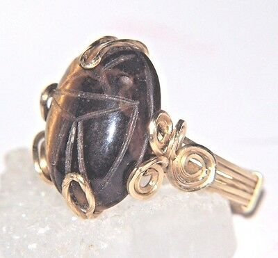 Egyptian SCARAB Ring TIGER'S EYE 11 carats 14kgf Gold Wire Wrap size 7