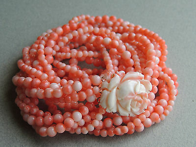 Natural Angel Skin Coral Four Strand Beaded Necklace Carved Coral