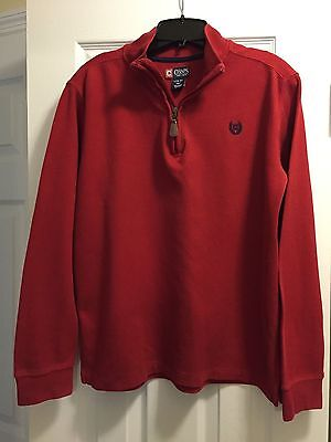 Boys Red 1/4 Zip Cotton Pullover from CHAPS Size L(14-16)