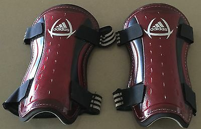 Good Condition Genuine ADIDAS Red & Black Shin Pads / Guards  Size M