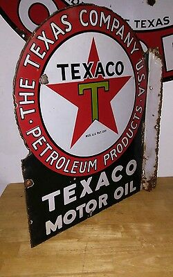 texaco motor oil flange porcelain sign original