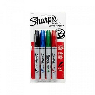 Sharpie 1810701 Brush Tip Permanent Marker, Assorted Colors, 4Pack