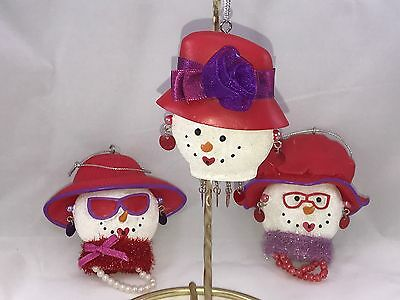 Lot Of 3 Red Hat Society Snowwomen Christmas Ornaments Collectible Gift