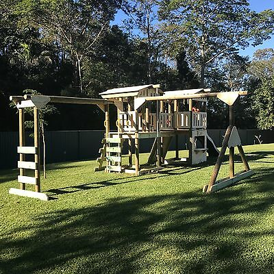 New Kids Double Fort With Bridge, Swings & Monkey Bar - Delivery Available