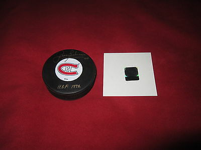 Jean Beliveau Signed Gold Habs Puck Autographed Coa Holo Montreal Canadiens