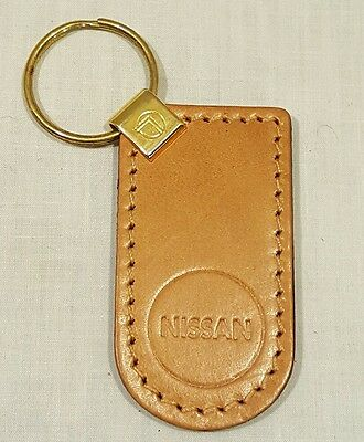 Vintage Brown Genuine Leather NISSAN Keychain Key Chain - New/Old Stock