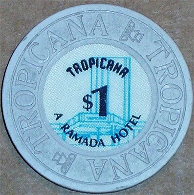 Old $1 TROPICANA Casino Poker Chip Vintage Antique House Mold Las Vegas NV 1985
