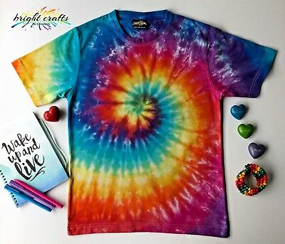 Rainbow Tie Dye hippie rave festival t-shirt bright colours dyed in Australia