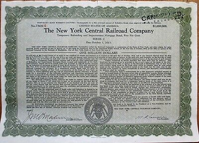 ONE MILLION DOLLARS 1921 'New York Central Railroad' Bond Certificate $1,000,000
