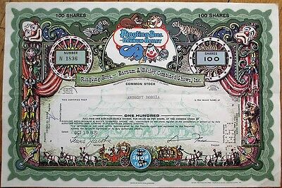 Ringling Bros. Barnum Bailey Combined Shows 1971 ISSUED Circus Stock Certificate