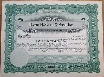 David H. Smith & Sons, Inc. Steel Company 1910 Stock Certificate - New York NY