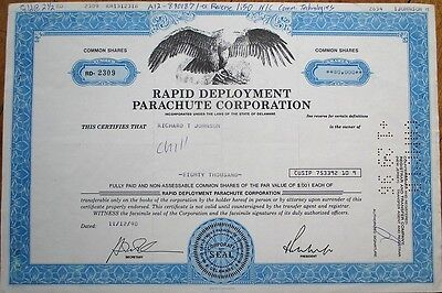 'Rapid Deployment Parachute Corp.' 1990 Stock Certificate - Aviation
