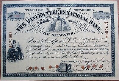 Manufacturers National Bank of Newark, NJ 1909 Stock Certificate - New Jersey