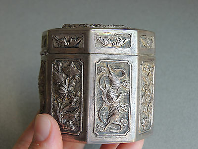 Old Chinese Silver Repousse Tea Caddy Opium Jar Box