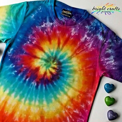 Kids Rainbow Tie Dye t-shirt spiral hand dyed in Australia Bright Colours unique